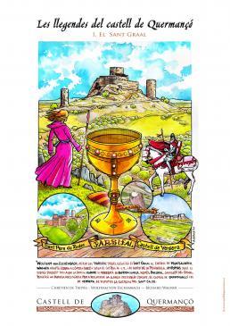 23.07.2010 Pòster realitzat pel Castell de Quermançó, per a il·lustrar les nombroses llegendes que l'embolcallen. En aquest cas, l'ubicació del Sant Graal disputada entre Quermançó i St. Pere de Rodes, així com la llança sagrada, Parsifal, etc.  Castell de Quermanço -  Jordi Bibià
