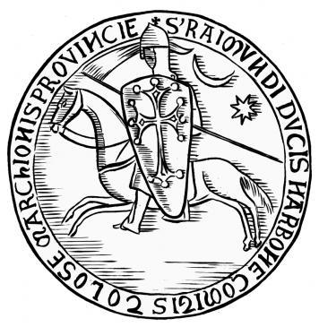 19.08.2010 Reproducció del segell del comte Raimon de Tolosa. A part de veure la creu d'OC adaptada a l'escut de tipus d'ametlla o allargassat, veiem també, la lluna i el sol (podria interpretar-se com un estel). Raimond:
