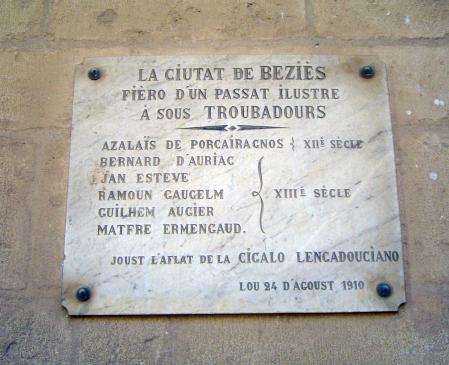 20.08.2009 Placa d'homenatge als seus trobadors i trobadora (Azalaïs).                      Besiers -  Jordi Bibià
