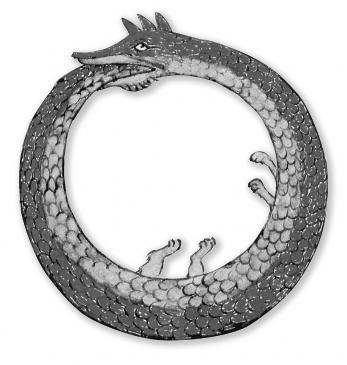 20.08.2010 L'Ouroboros místic. És un símbol bàsicament gnòstic, i es tracta d'un drac o d'una serp que es mossega la cua. Simbolitzar el temps i la continuïtat de la vida. En algunes representacions se l'identifica clarament amb el símbol xinès del Yang-yin. És el símbol que ens diu que la natura té capacitat de renovar-se a sí mateixa. És la continuïtat del cicle. L'autofecundació. Nietzsche li deia que representaava l'Etern Retorn.  -
