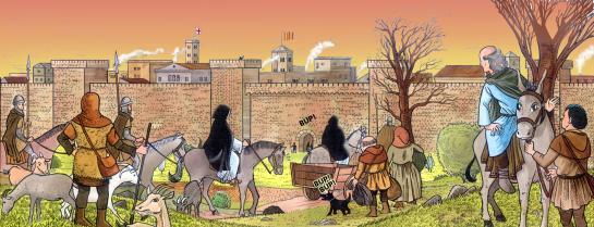 14.08.2006 Entrada dels inquisidors a la Barcelona del s. XIII. Vinyeta del projecte <em>Una llavor entre les cendres</em>.            Barcelona -  Jordi Bibià