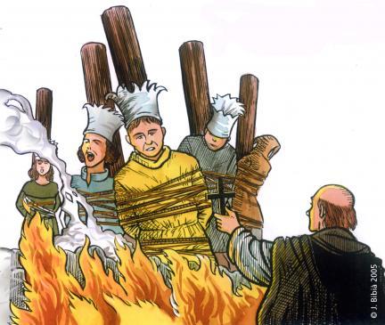 11.05.2006 Grup de càtars a la foguera i inquisidor a primer terme. Els parents dels inculpats havien de costejar les despeses del procés i del macabre mètode, pagar la la fusta, la llenya i la resta de preparatius. Cal dir a més amés que, tot aquell que participava aportant llenya, es beneficiava d'una sèrie d'indulgències.            Occitània -  Jordi Bibià