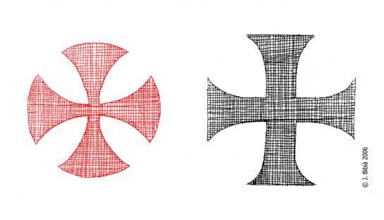 27.08.2010 A la dreta, la creu del temple, la forma pot canviar sensiblement, però sempre en color vermell. A l'esquerra, la creu de seva ordre bessona del nord d'Europa, la creu dels teutons, en negre.                                             -  Jordi Bibià