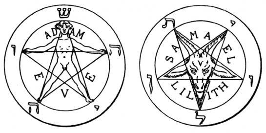 27.08.2010 En aquests dos dibuixos veiem les dues interpretacions diferents que se li dóna a la figura geomètrica segons el sentit. A la dreta, el valor positiu que abans comentavem. A l'esquerra, i totalment invertit, amb el mascle cabró inscrit perfectament en la forma geomètrica. Com ja sabem, aquest doble símbol (pentagrama invertit i mascle cabró) has estat emprat per la bruixeria i pel satanisme.                      -