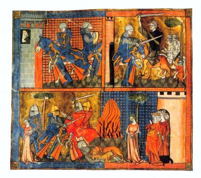 27.08.2010 Il·lustració amb diverses escenes d'Ivany, el personatge central de <em>El cavaller de la carreta</em>. Obres de Chrétien de Troies (1135-1190) — <em>Erec et Enide</em> — L<em>e Chevalier de la Charette</em> — <em>Le Chevalier au lion</em> — <em>Li contes del graal (Perceval)   </em>              -