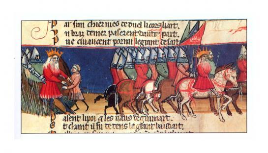 28.08.2010 La història es desenvolupa arrel del fet històric de la derrota de Carlemany al Pirineu navarrès l'any 778, tot i els nombrosos components fantàstics i meravellosos que fan que la seva historicitat sigui dubtosa. El text més antic és el <em>manuscrit d'Oxford</em>, datable entre els anys 1130-1150 i és considerada un dels més destacats exemples de l'èpica medieval. Il·lustració pertanyent a una edició del s. XIV.  La Chanson de Roland -