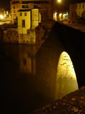 26.03.2008 Imatge nocturna d'una part del <strong>Pont Vell</strong> sobre l'Aude.            Carcassona   -  Jordi Bibià