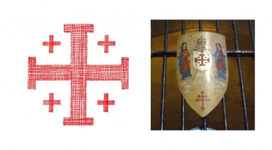 03.11.2009 <strong>La creu de Jerusalem.</strong> A la foto la podem veure en un escut de l'església de Santa Anna de Barcelona.            Barcelona -  Jordi Bibià