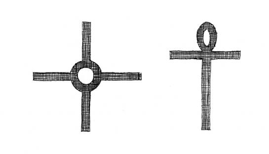 12.10.2006 A l'esquerra, <strong>creu copta</strong>. A la dreta, creu egípcia o <strong>ansada</strong>.                   -  Jordi Bibià