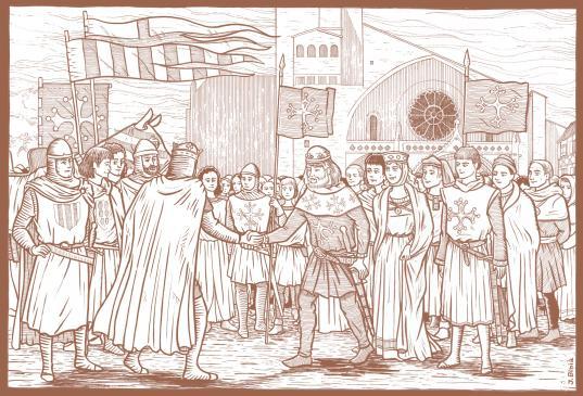31.01.2011 El rei Pere el Catòlic a Tolosa del Llenguadoc amb Raimon VI, la seva dona (Elionor, germana del rei) i el seu fill, el futur Raimon VII                   Tolosa del Llenguadoc -  Jordi Bibià