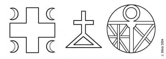 30.11.-0001 Símbols observats en algunes fitxes o medalles metàl·liques de l'època.   Museu de Montsegur -  Jordi Bibià