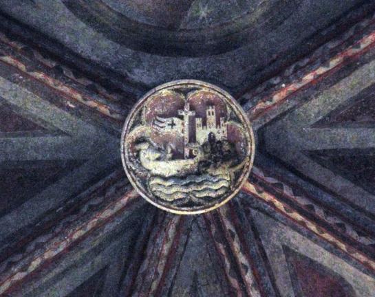 06.09.2011 Clau de volta localitzada en una de les capelles annexes al claustre dels Jacobins. En ella observem en primer pla, un vaixell al Garona i al fons, el castell o palau tolosà.  Tolosa del Llenguadoc -  Jordi Bibià