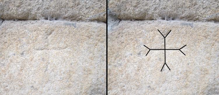 23.09.2012 Esquematització d'una creu d'Oc, o bé, una creu maniquea. Localitzada al castell d'Espolla (s.XIII_XVIII).  Espolla. Alt Empordà -  Jordi Bibià