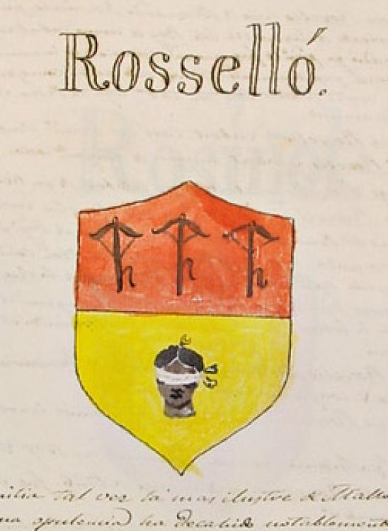 08.04.2013 ELS ROSSELLÓSegons l'autor d'Adarga Mallorquina, aquest llinatge de cavallers catalans, fou una de les més importants de Mallorca. Abans d'instal·lar-se a l'illa, Rafael Rosselló acompanyà a Pere II a la batalla de les Navas de Tolosa, i el 1229 a la presa de Mallorca. Un altre Rosselló, Bernart, fou originari de Cotlliure, participant igualment en el setge a l'illa. Al s. XIII tenim una Esclarmonda de Rosselló que es casà amb el comte de Foix.  Mallorca -  Adarga Mallorquina