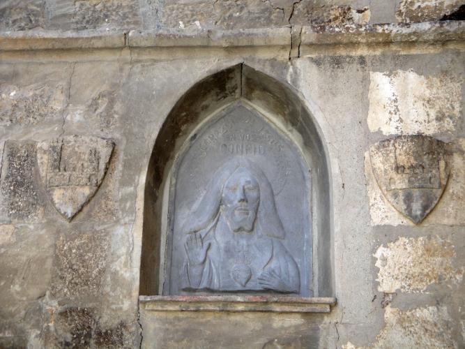 29.08.2016 heràldica a l'entrada de la casa parroquial.  Església de Sant Pere. Fraga. -  Jordi Bibià