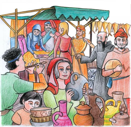 28.04.2017 Dibuix d'un mercat medieval  -  Jordi Bibià