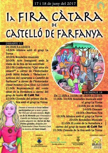 """17.06.2017 DISSABTE 17 De 18:00 h a 22:00 h18:30h Música amb el grup La Torna20:00h Rondalles musicals20:00h Acte Inaugural amb la visita de la fira de les autoritats20:15h Conferència: """"Qui eren els càtars?"""" a càrrec de l'historiador Jordi Bibià Balada i """"Relacions i  notícies del catarisme a Castelló de Farfanya"""" a càrrec de l'historiador Omar Noumri Coca (lloc: Lo Celler)21:30h Representació del conte càtar de la Ferradura a càrrec del grup de teatre tE CoM Tot22:00h Cloenda del primer dia de fira amb el grup La TornaDIUMENGE 18De 11:00h a 14:00h i de 18:00h a 22:00h11:30h-13:30h Rondalles musicals amb el grup La Torna12:00h Joc de bitlles14:00h Descans18:00h Obertura Fira18:30h Música amb el grup La Torna20:00h Rondalles Musicals21:00h El conte de la ferradura a càrrec del grup de teatre tE CoM Tot21:50h Cloenda de la fira amb La TornaDurant el mercat es faran tallers participatius per a nens i grans. Rèplica de la Moneda que s'encunyà a  Castelló de Farfanya (qui vulgui podrà adquirir-la). Servei de Bar. Visites guiades, dirigides per l'historiador Omar Noumri Coca (A la recerca del Sant Graal).  Castelló de Farfanya -  Autor"""