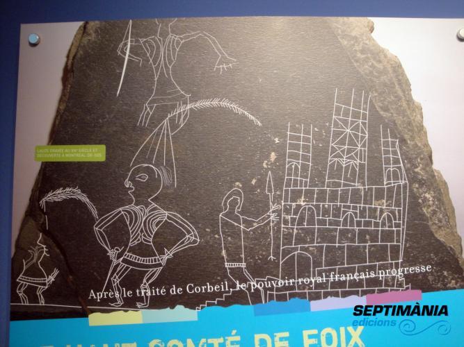 04.08.2018 Grafit del s. XIV on es representa el castell i un cavaller.  Vicdessos. -  Jordi Bibià