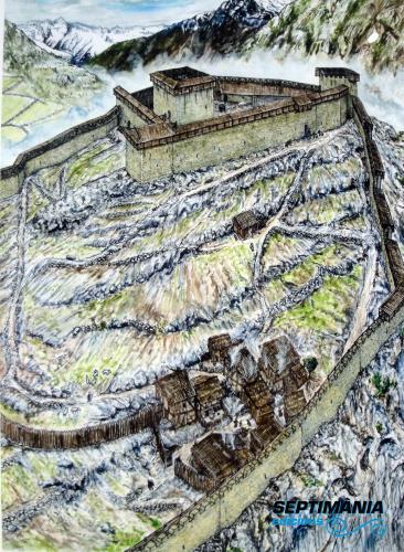 04.08.2018 Dibuix de la reconstrucció del castell.  Vicdessos -  Jordi Bibià
