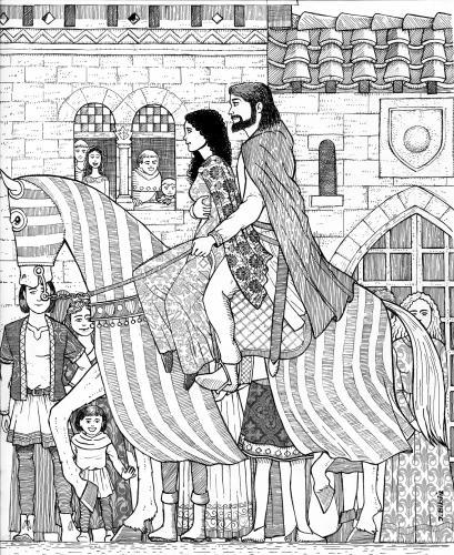 16.06.2020 Maria de Montpeller i Pere el Catòlic entrant a la ciutat occitana.  Montpeller -  Jordi Bibià