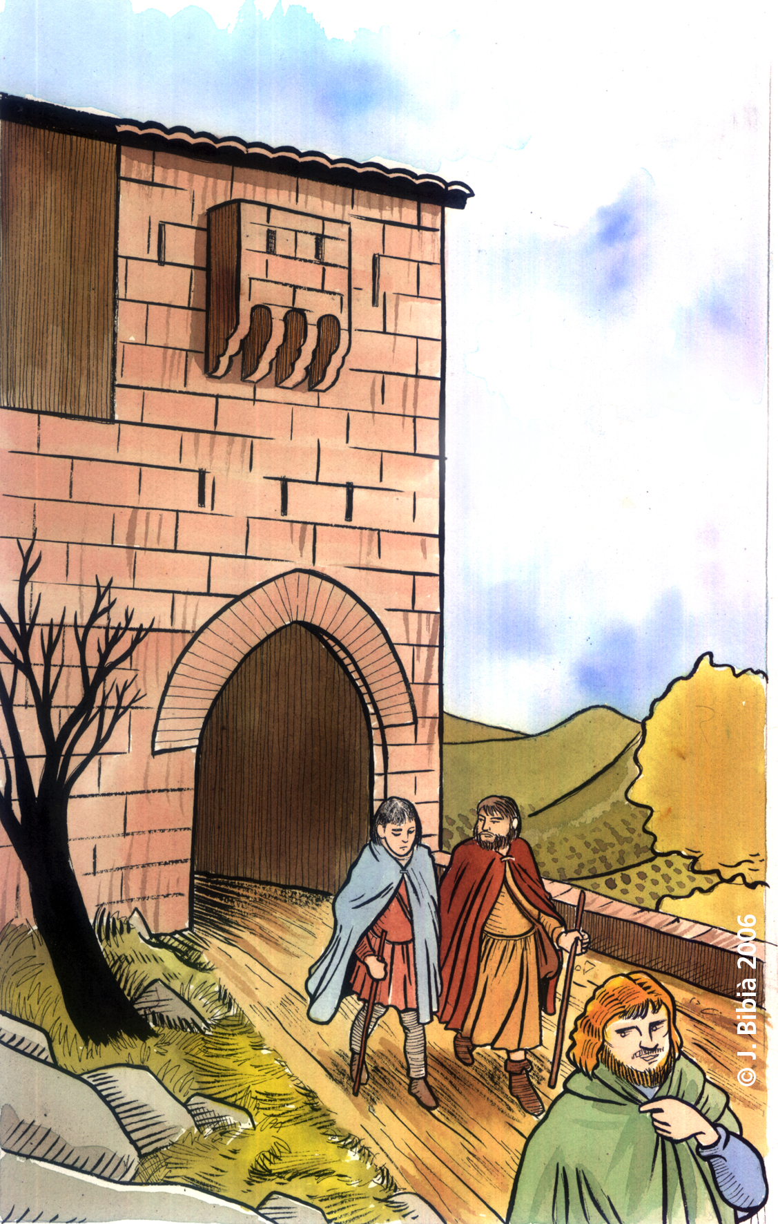 11.05.2006 Recreació de la sortida de Morella de Belibasta, Mauri i Sicre, enganyats per aquest últim            Morella -  Jordi Bibià