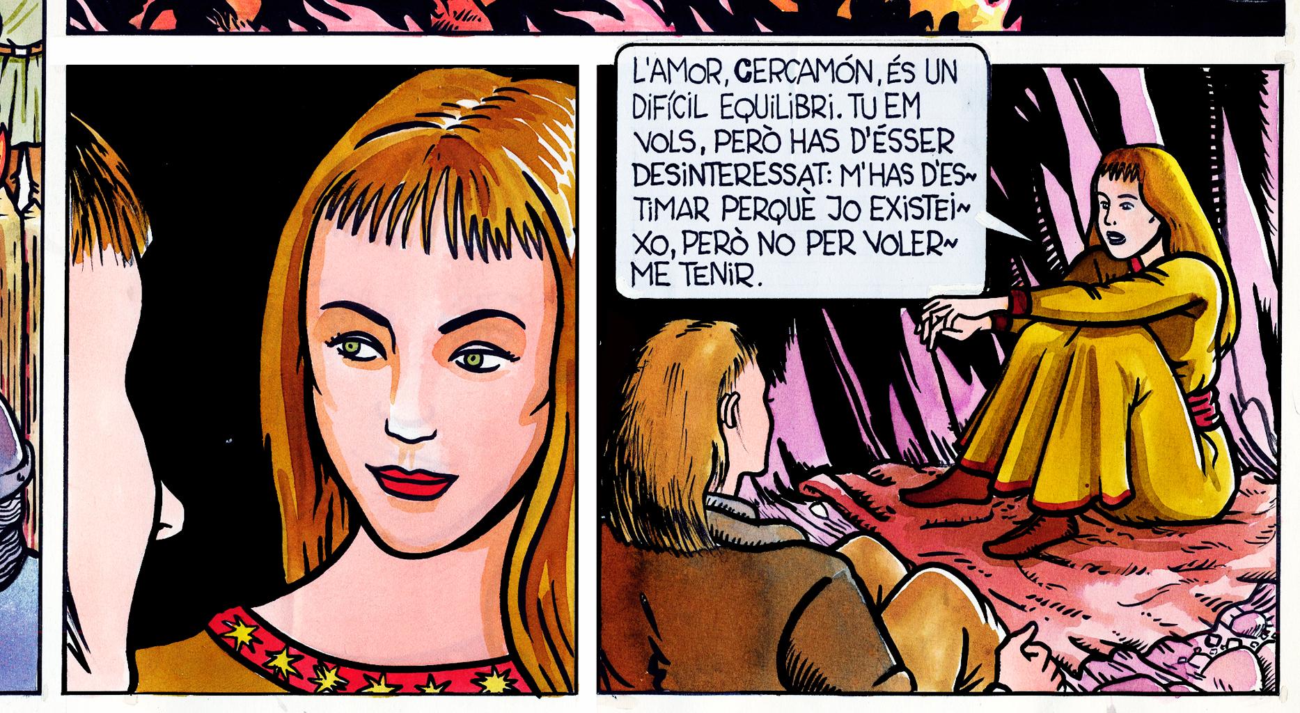 13.10.2004 Vinyeta del projecte d'adaptació en còmic de <em>Cercamón</em>.                     Montsegur -  Jordi Bibià
