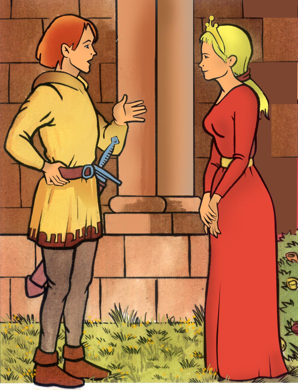 23.04.2002 Vinyeta del projecte en còmic <em>Cercamón</em>. Cercamón i Esclarmonda a les corts d'amor a Foix  -  Jordi Bibià