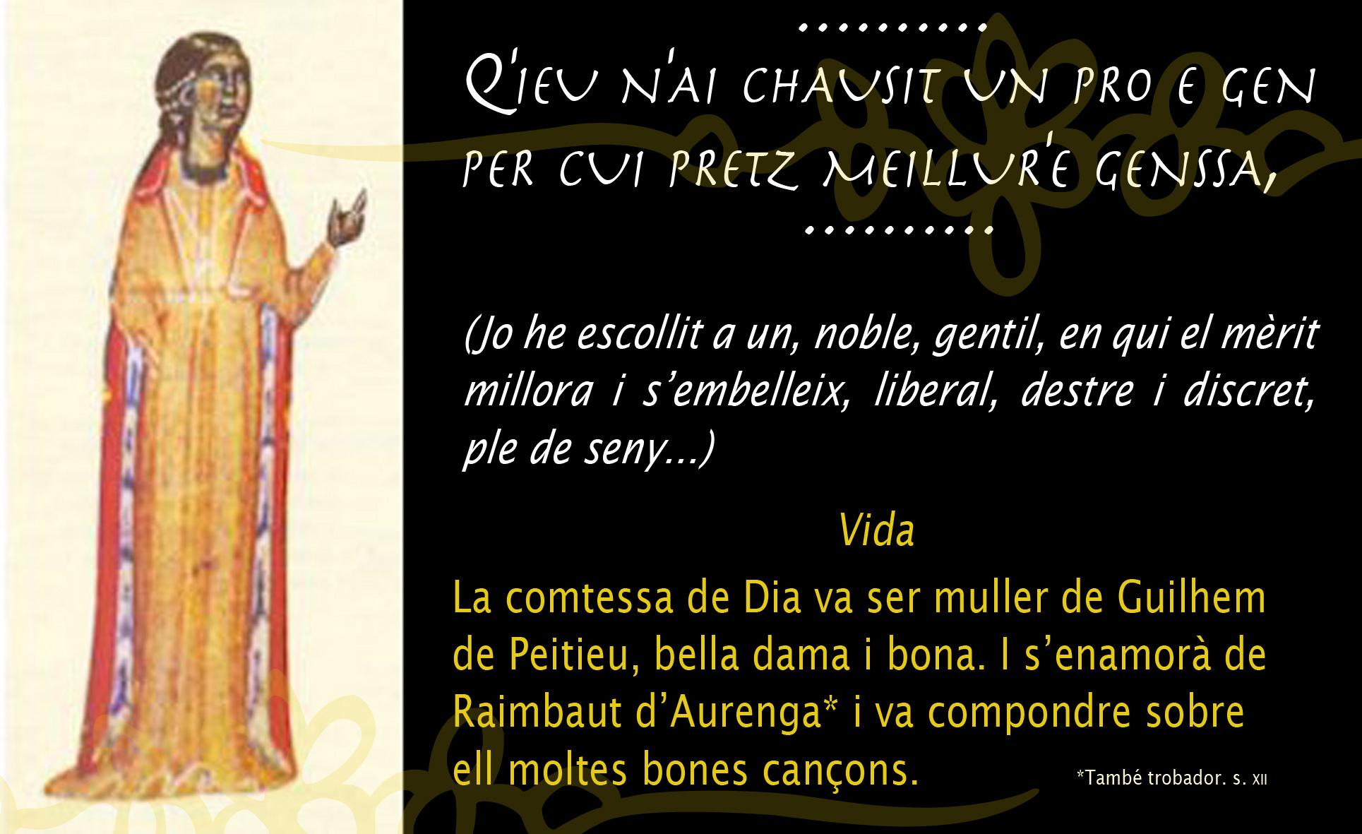 21.08.2010 La comtessa de Dia, una de les trobairitz més destacades, reclamant el recíproc dret de l'amor  -  Jordi Bibià