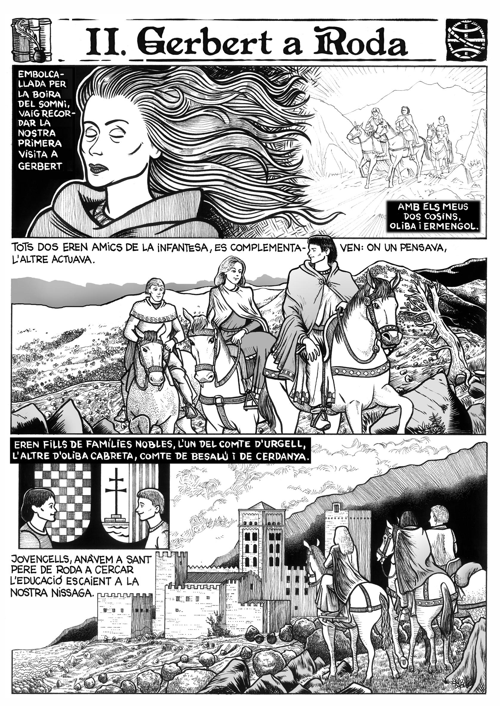 15.10.2004 Pàgina del projecte d'adaptació en còmic de la novel·la <em>Cercamón</em>, del sr. Ll. Racionero. Cap. II - Pàg. 05            Sant Pere de Roda -  Jordi Bibià