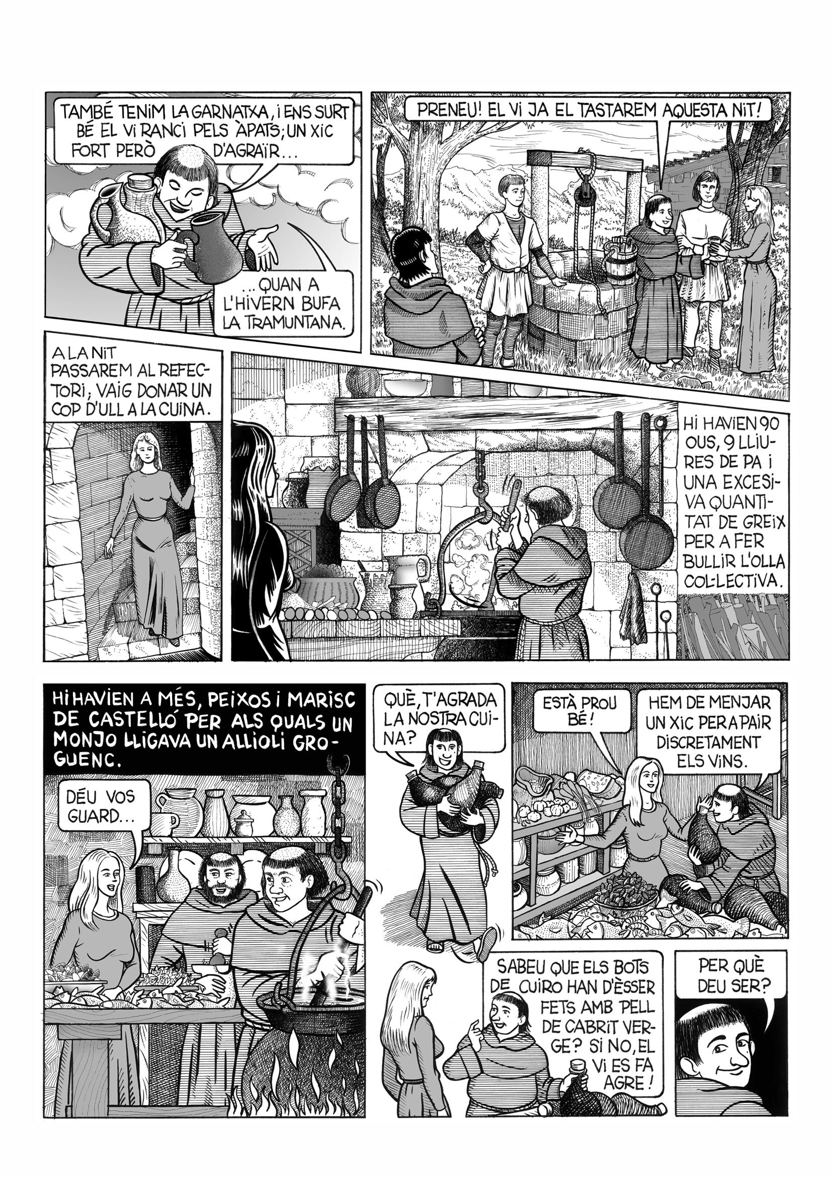20.10.2002 Pàgina del projecte d'adaptació en còmic de la novel·la Cercamon, de Ll. Racionero. Capítol III. Any 2002                                Sant Miquel de Cuixà -  Jordi Bibià