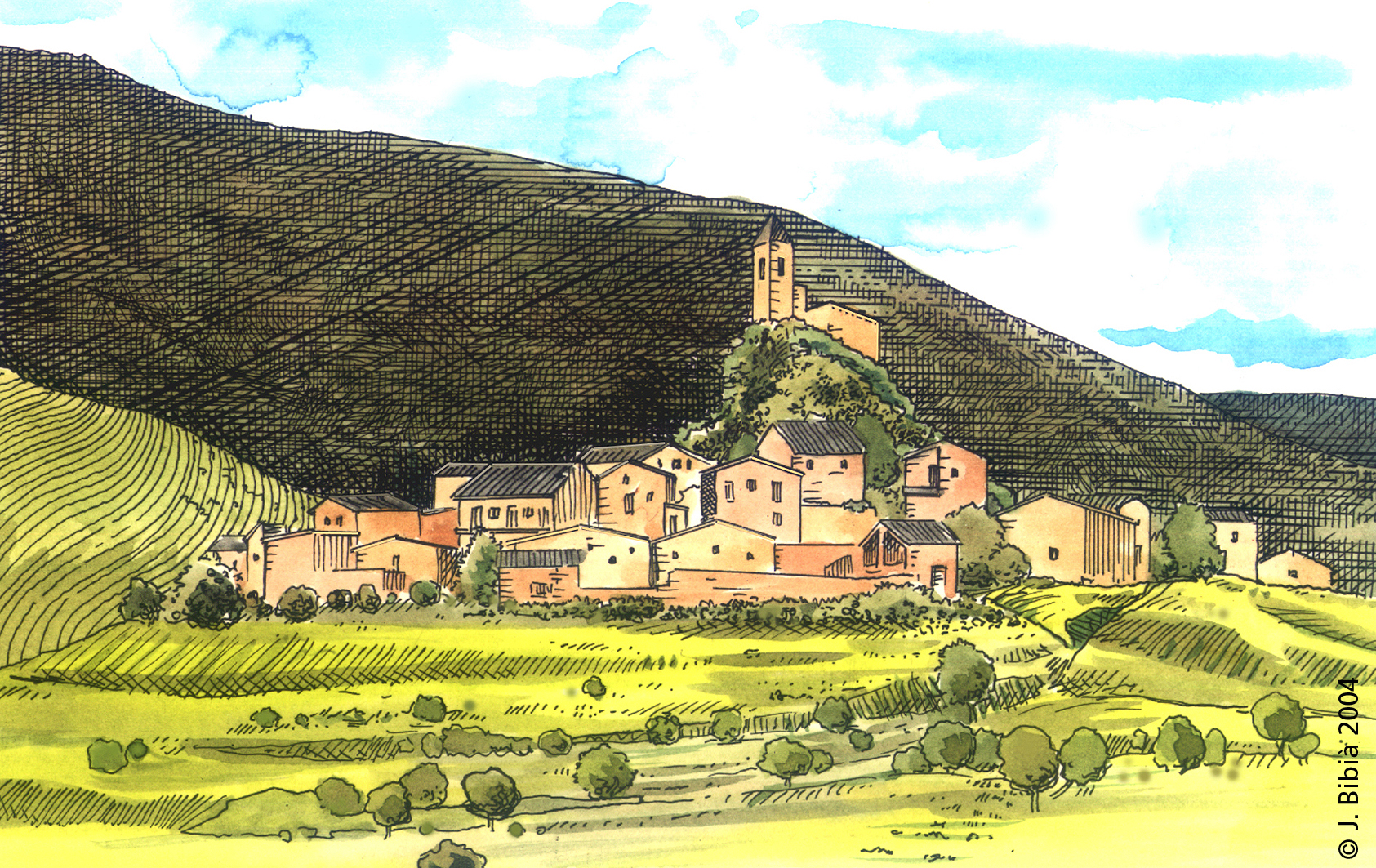 20.05.1997 Josa del Cadí. Refugi càtar i origen del llinatge dels Josa. <strong>Ramon de Josa</strong> serà acusat d'heretge, relapse i mentider. El 1258 se li dicta una sentència <em>post mortem</em>, i el seu cos serà desenterrat i incinerat. El fill i la seva vídua van ser declarats inocents. (Font. E. Albert).                     Josa del Cadí -  Jordi Bibià