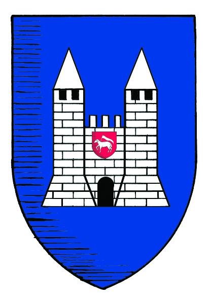 26.03.2008 Escut de la ciutat amb dues de les seves característiques torres, i al mig, en la seva part superior, l'<em>agnus Dei. </em> (Evidentment, i en la majoria de casos, he suprimit les flors de lis).  Carcassona -  Jordi Bibià