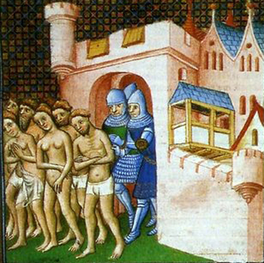 26.03.2008 Il·lustració de l'època medieval on es representa l'expulsió dels seus habitants que, obligats a abandonar nus la ciutat, van haver de lliurar totes les pertenences als croats.                                Carcassona   -