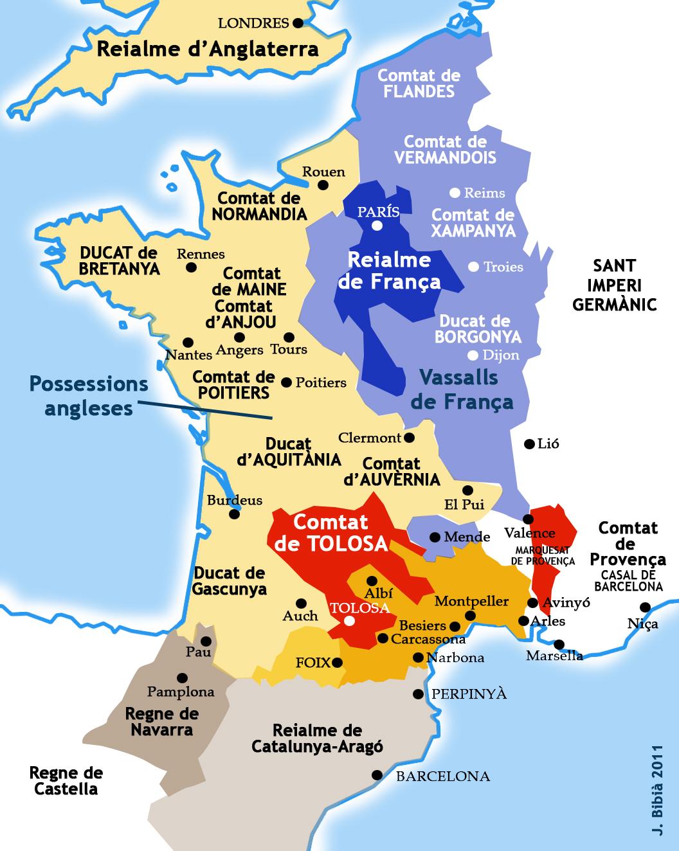 29.01.2011 Aproximació de França vers el 1209. Font: Les Cathares. Chronologie de 1022 à 1321. De M&J  -  Jordi Bibià