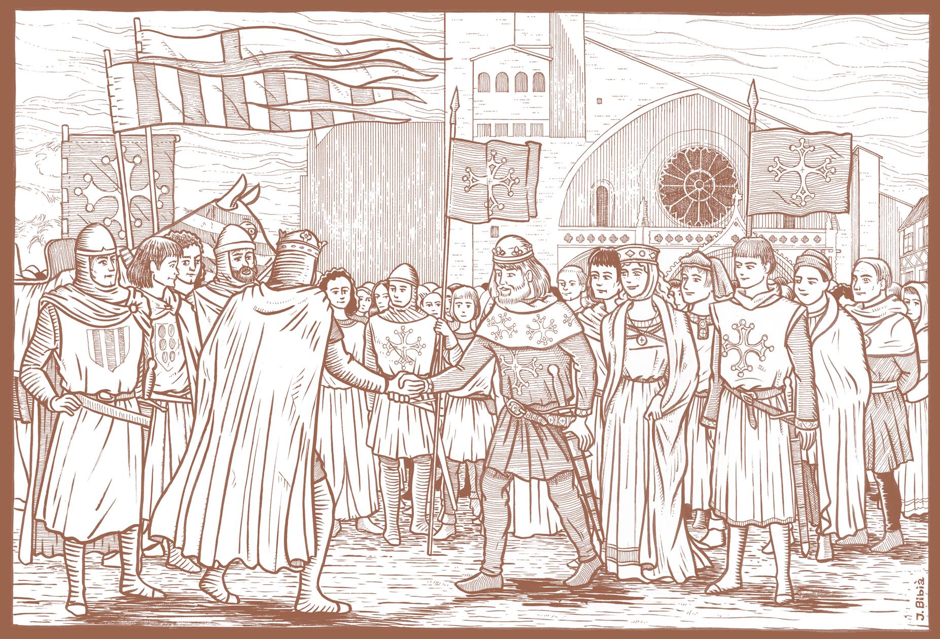 31.01.2011 El rei Pere el Catòlic a Tolosa del Llenguadoc amb Raimon VI, la seva dona (germana del rei) i el seu fill, el futur Raimon VII               -  Jordi Bibià