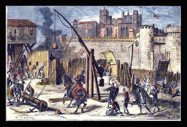 31.01.2011 Representació litogràfica de l'atac i posterior presa de Besiers. Un dels inicis de la croada. Any 1209. Al fons, la catedral de Sant Nasari.  Besiers -