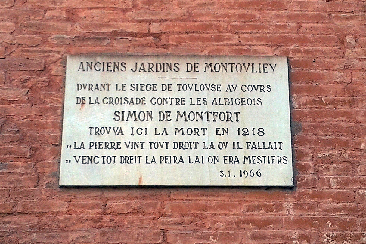 19.06.2012 Placa commemorativa del lloc i del moment de la mort de Simó de Montfort  Jardins de Montoliu -  Tomàs V. Alonso