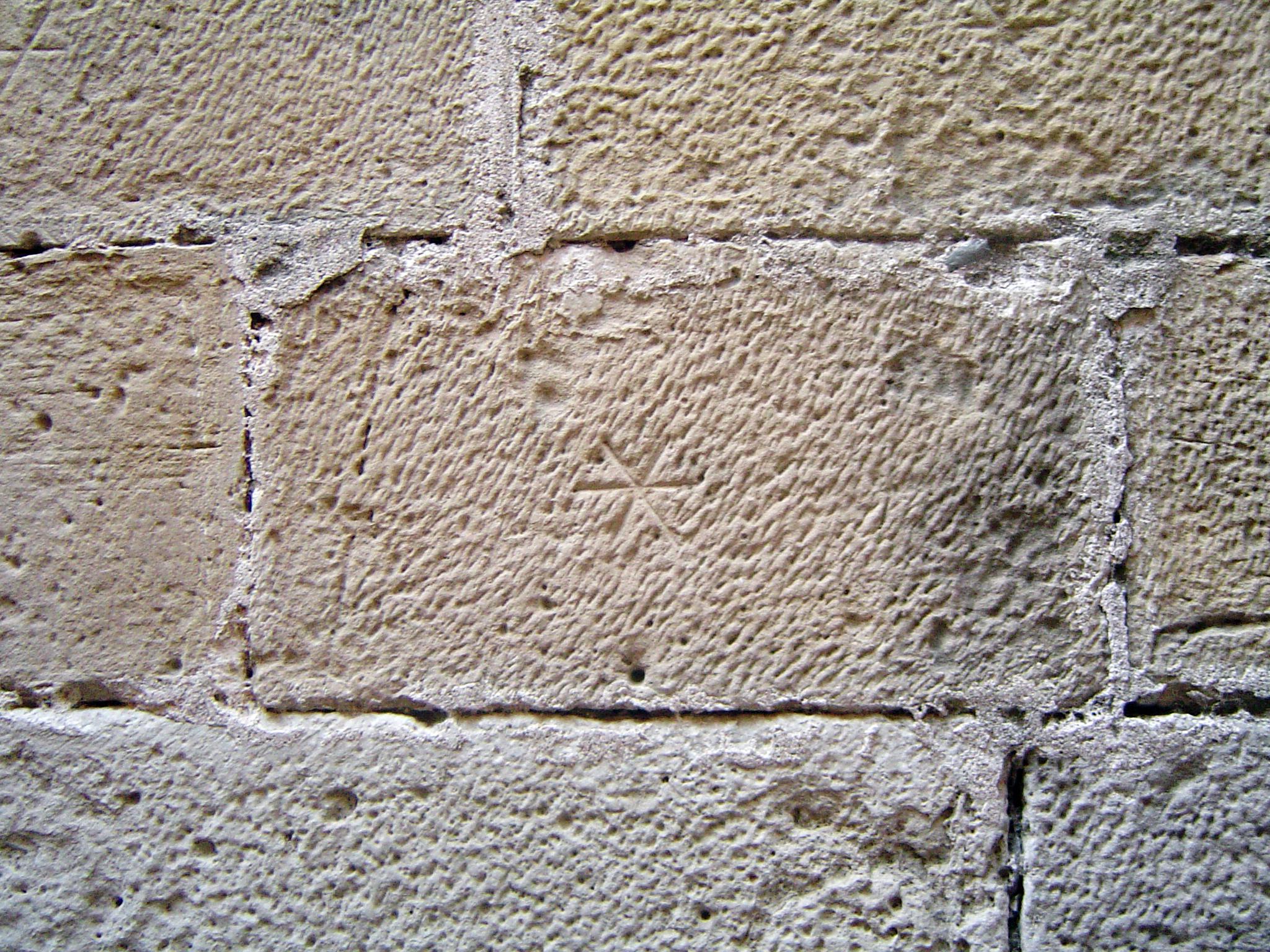 25.02.2008 Marca d'estrella de sis puntes. Aquesta apareix amb la mateixa factura al castell de l'Espluga Calba.  Poblet. -  Jordi Bibià Balada