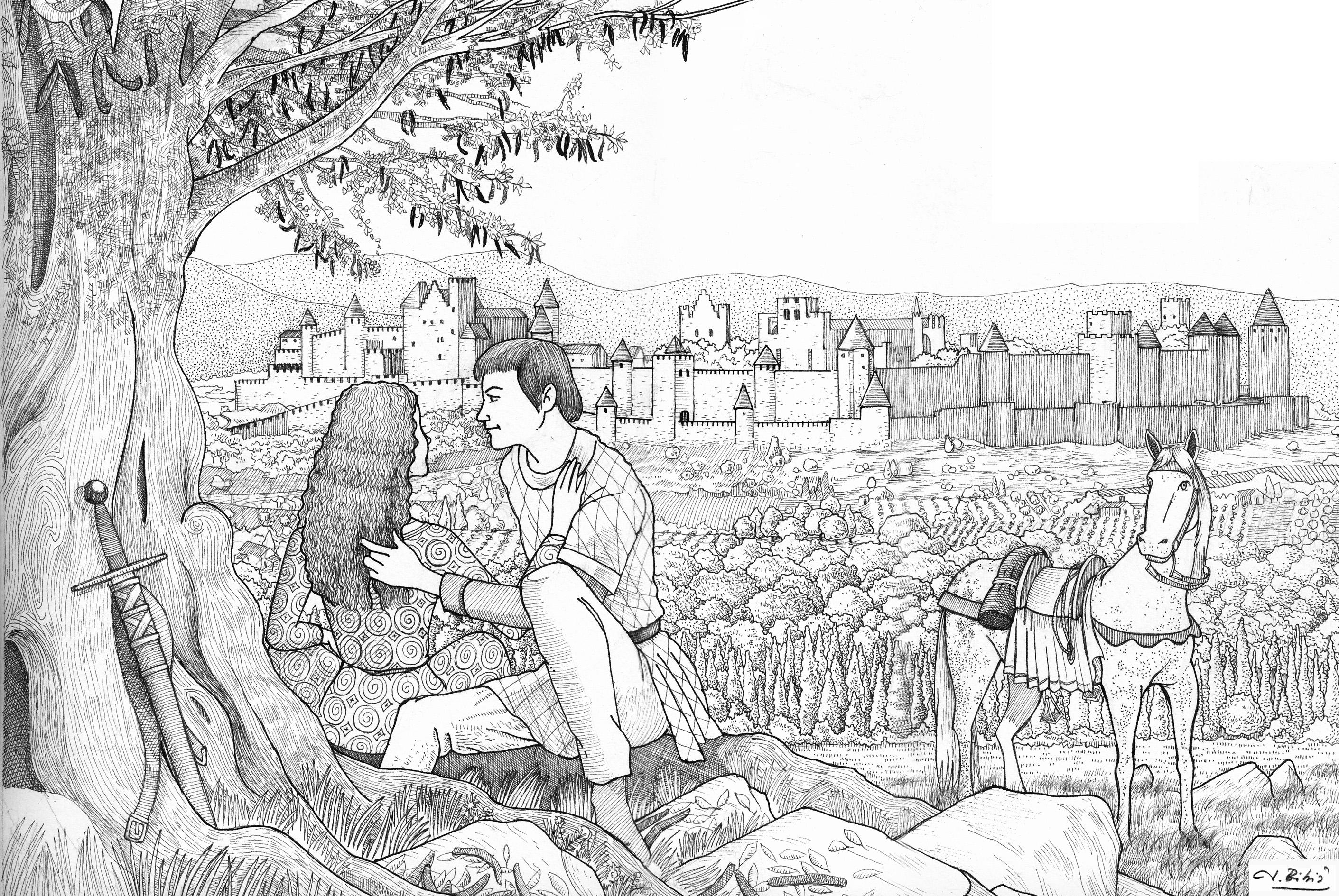 06.10.2017 Dibuix per 'Una llavor entre les cendres'  Carcassona, 1306 -  JORDI BIBIÀ