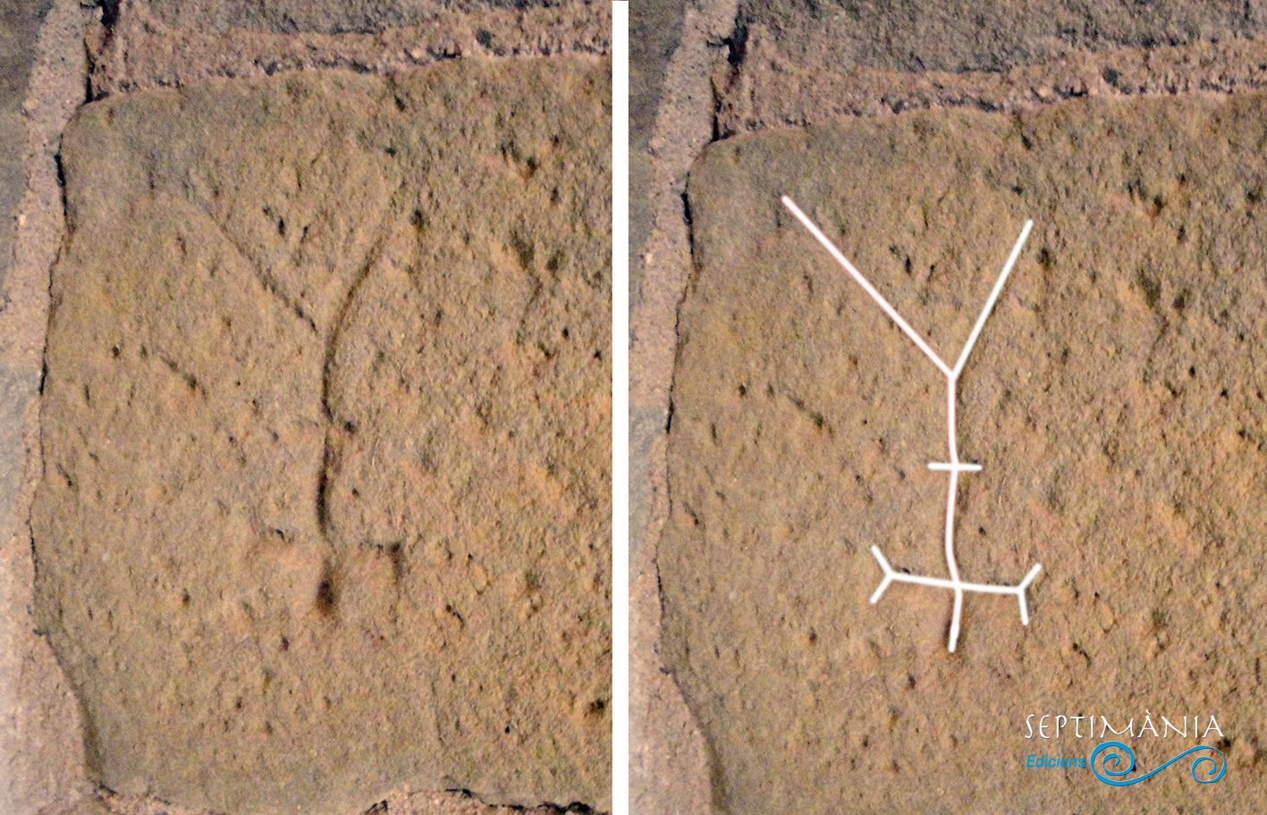 27.08.2021 Possiblement un grafit. Integrat per dues creus diferents. O bé, figura antropomorfa esquematitzada  invertida.  Priorat de Santa Maria de Castellfollit de Riubregós. -  Jordi Bibià